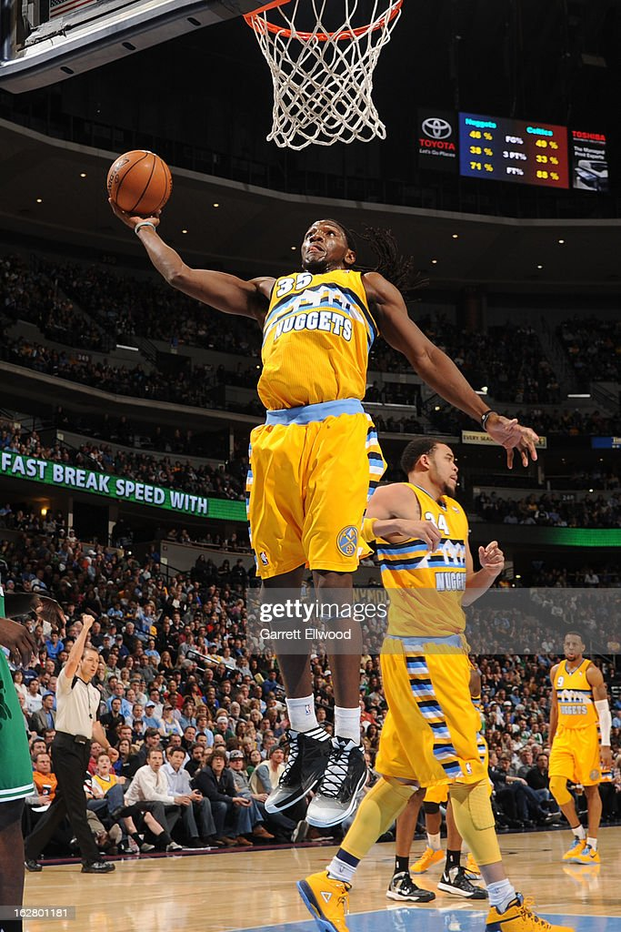 Kenneth Faried #35 of the Denver Nuggets dunks the ball against the Boston Celtics on February 19, 2013 at the Pepsi Center in Denver, Colorado.