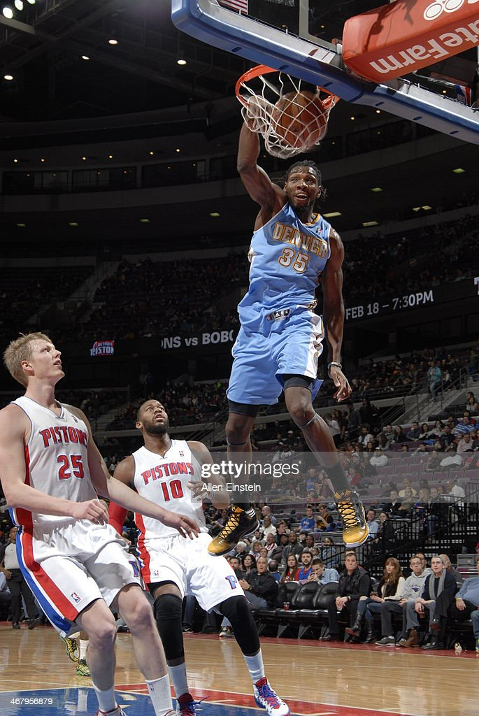 <a gi-track='captionPersonalityLinkClicked' href=/galleries/search?phrase=Kenneth+Faried&family=editorial&specificpeople=5765135 ng-click='$event.stopPropagation()'>Kenneth Faried</a> #35 of the Denver Nuggets dunks the ball against the Detroit Pistons during the game on February 8, 2014 at The Palace of Auburn Hills in Auburn Hills, Michigan.