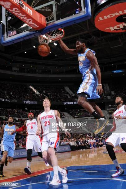 Kenneth Faried of the Denver Nuggets dunks the ball against the Detroit Pistons during the game on February 8 2014 at The Palace of Auburn Hills in...