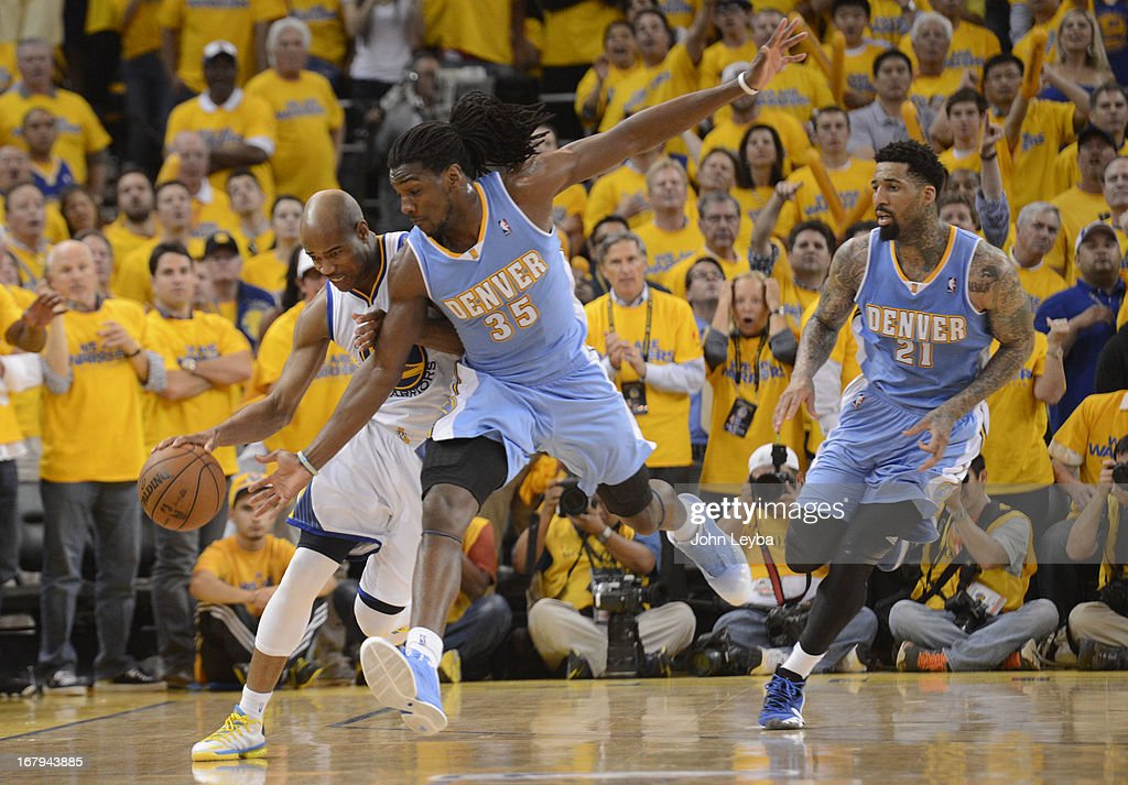 Kenneth Faried (35) of the Denver Nuggets fouls Jarrett Jack (2) of the Golden State Warriors with 00:07.3 in the fourth quarter in Game 6 of the first round NBA Playoffs May 2, 2013 at Oracle Arena.