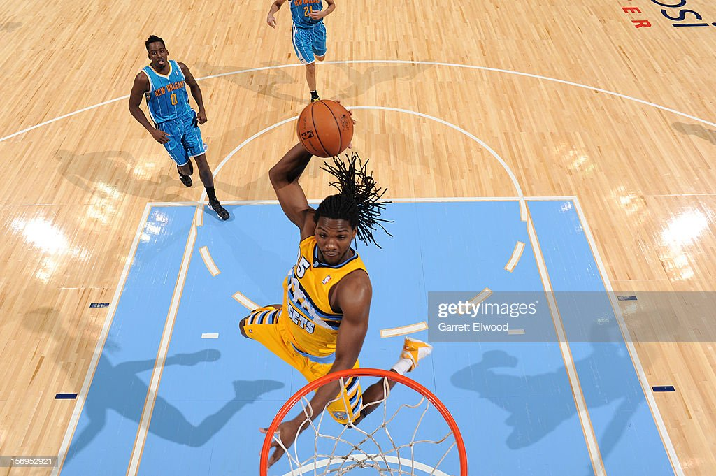 Kenneth Faried #35 of the Denver Nuggets goes to the basket during the game between the New Orleans Hornets and the Denver Nuggets on November 25, 2012 at the Pepsi Center in Denver, Colorado.