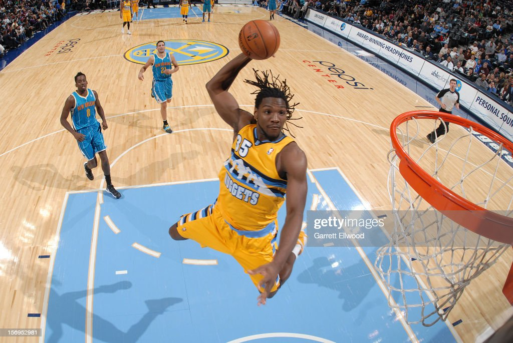<a gi-track='captionPersonalityLinkClicked' href=/galleries/search?phrase=Kenneth+Faried&family=editorial&specificpeople=5765135 ng-click='$event.stopPropagation()'>Kenneth Faried</a> #35 of the Denver Nuggets goes to the basket during the game between the New Orleans Hornets and the Denver Nuggets on November 25, 2012 at the Pepsi Center in Denver, Colorado.