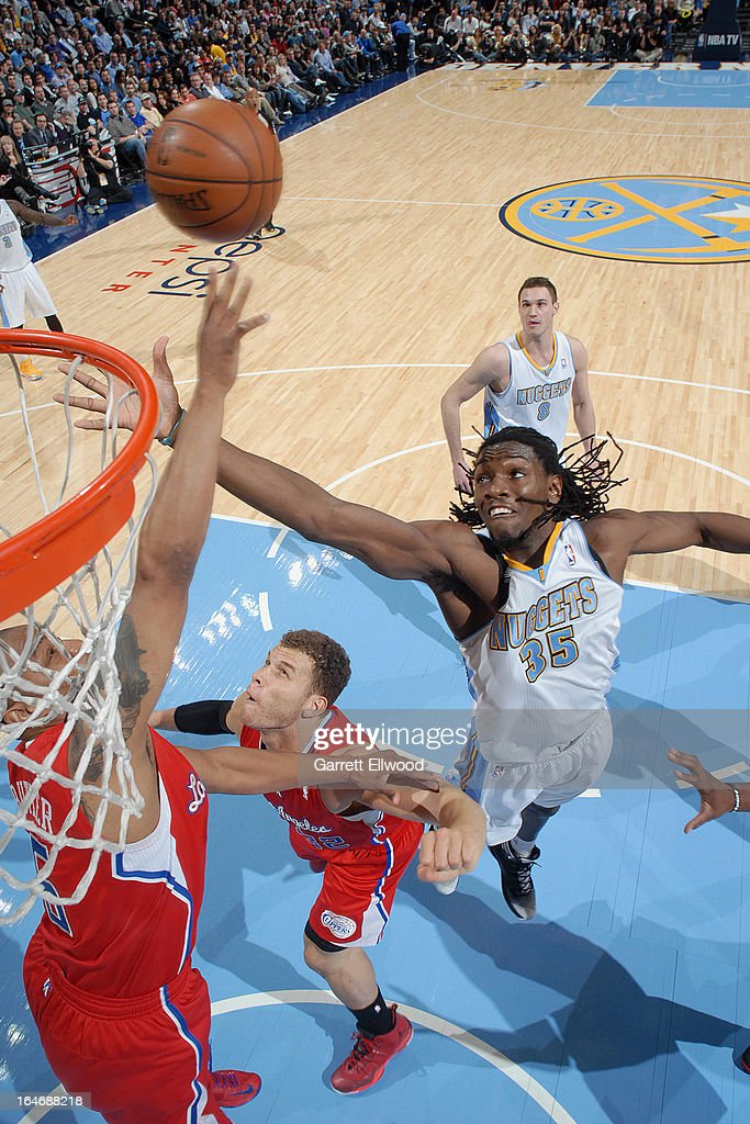 <a gi-track='captionPersonalityLinkClicked' href=/galleries/search?phrase=Kenneth+Faried&family=editorial&specificpeople=5765135 ng-click='$event.stopPropagation()'>Kenneth Faried</a> #35 of the Denver Nuggets goes up for a rebound against the Los Angeles Clippers on March 7, 2013 at the Pepsi Center in Denver, Colorado.