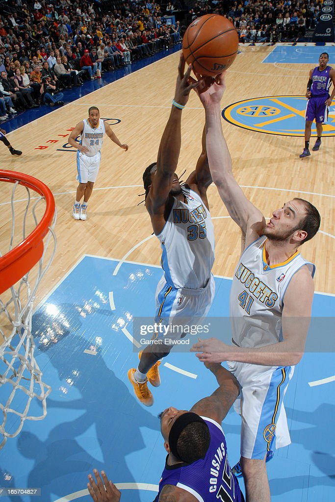<a gi-track='captionPersonalityLinkClicked' href=/galleries/search?phrase=Kenneth+Faried&family=editorial&specificpeople=5765135 ng-click='$event.stopPropagation()'>Kenneth Faried</a> #35 of the Denver Nuggets goes up for a rebound against the Sacramento Kings on March 23, 2012 at the Pepsi Center in Denver, Colorado.