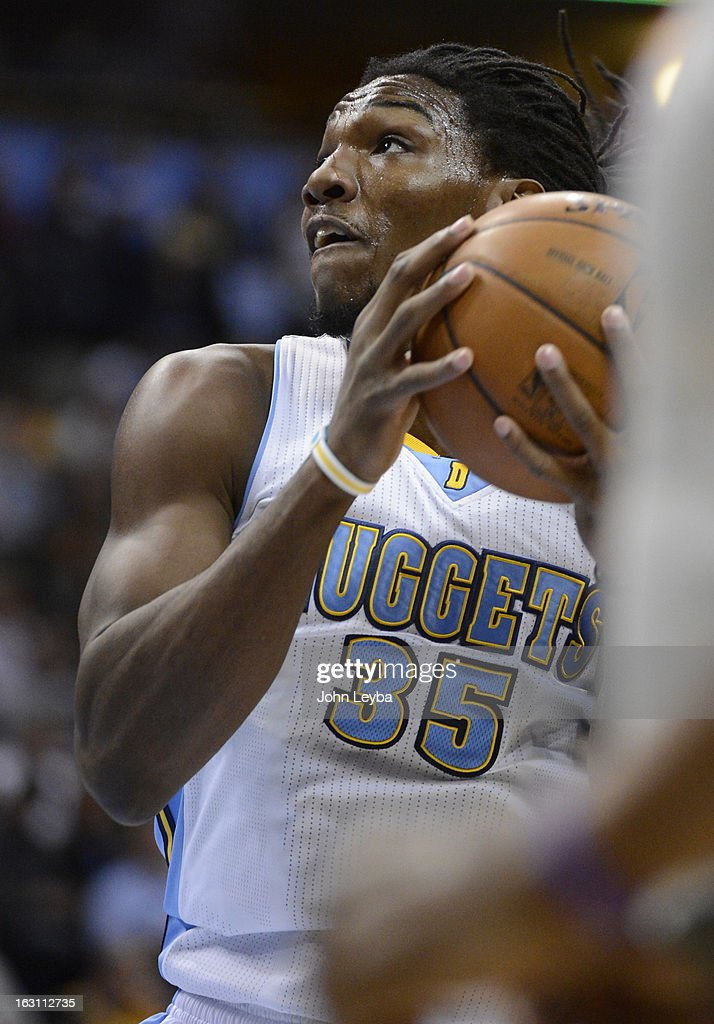 Kenneth Faried (35) of the Denver Nuggets goes up for a shot against the Atlanta Hawks March 4, 2013 at Pepsi Center.