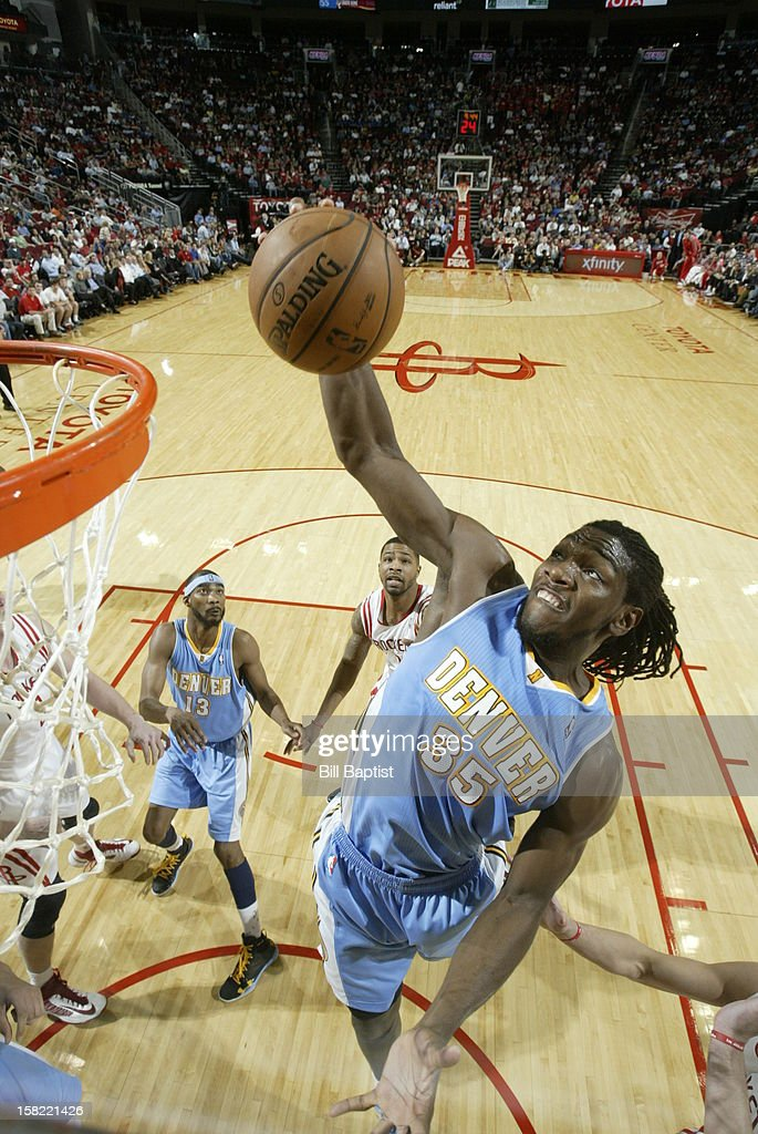 Kenneth Faried #35 of the Denver Nuggets grabs a rebound against the Houston Rockets on November 7, 2012 at the Toyota Center in Houston, Texas.