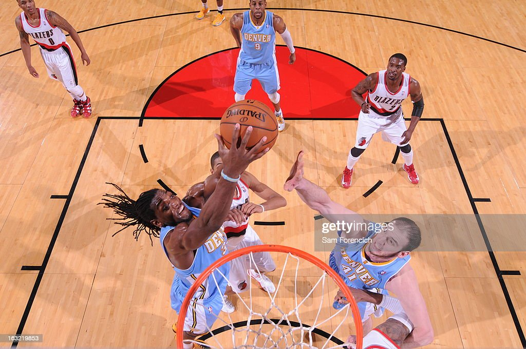 Kenneth Faried #35 of the Denver Nuggets grabs a rebound against the Portland Trail Blazers on February 27, 2013 at the Rose Garden Arena in Portland, Oregon.