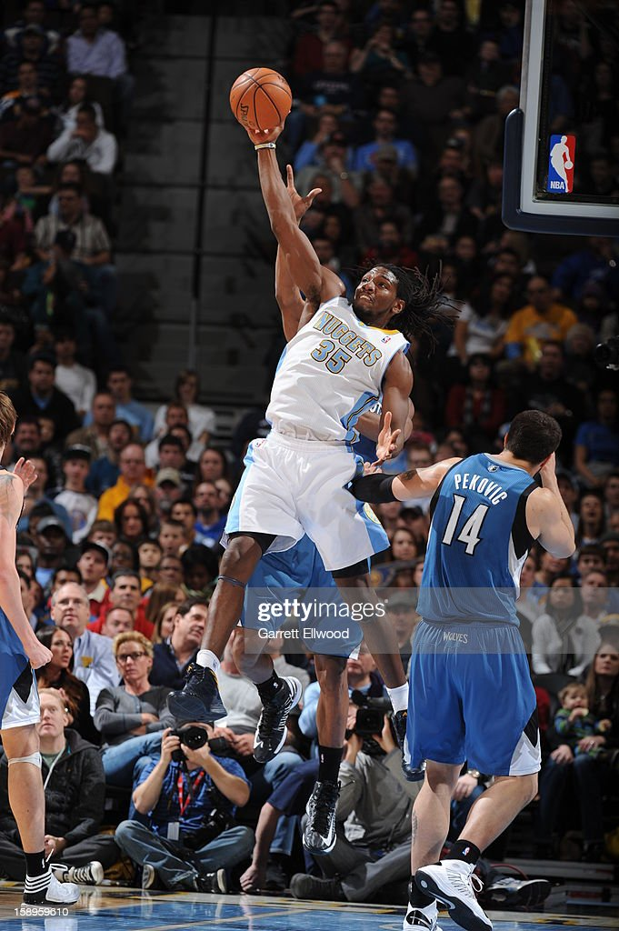 Kenneth Faried #35 of the Denver Nuggets grabs the loose ball against the Minnesota Timberwolves on January 3, 2013 at the Pepsi Center in Denver, Colorado.