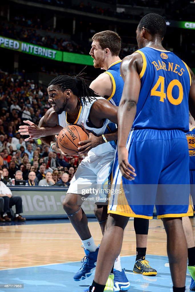 Kenneth Faried #35 of the Denver Nuggets handles the ball against the Golden State Warriors on April 16, 2014 at the Pepsi Center in Denver, Colorado.