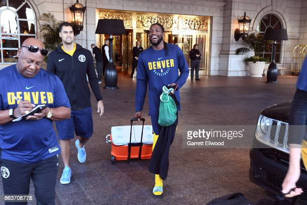 Kenneth Faried of the Denver Nuggets leaves the hotel for practice prior to the game against the Utah Jazz on October 18 2017 at the Vivint Smart...