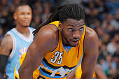Kenneth Faried of the Denver Nuggets looks on during the game against the Sacramento Kings on February 19 2016 at Sleep Train Arena in Sacramento...