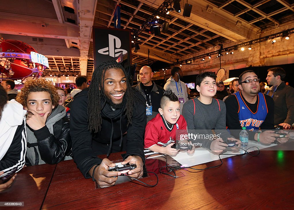 <a gi-track='captionPersonalityLinkClicked' href=/galleries/search?phrase=Kenneth+Faried&family=editorial&specificpeople=5765135 ng-click='$event.stopPropagation()'>Kenneth Faried</a> of the Denver Nuggets plays NBA2k15 with fans at the Playstation area at NBA House at Moynihan Station during the 2015 NBA All-Star on February 13, 2015 in New York, New York.