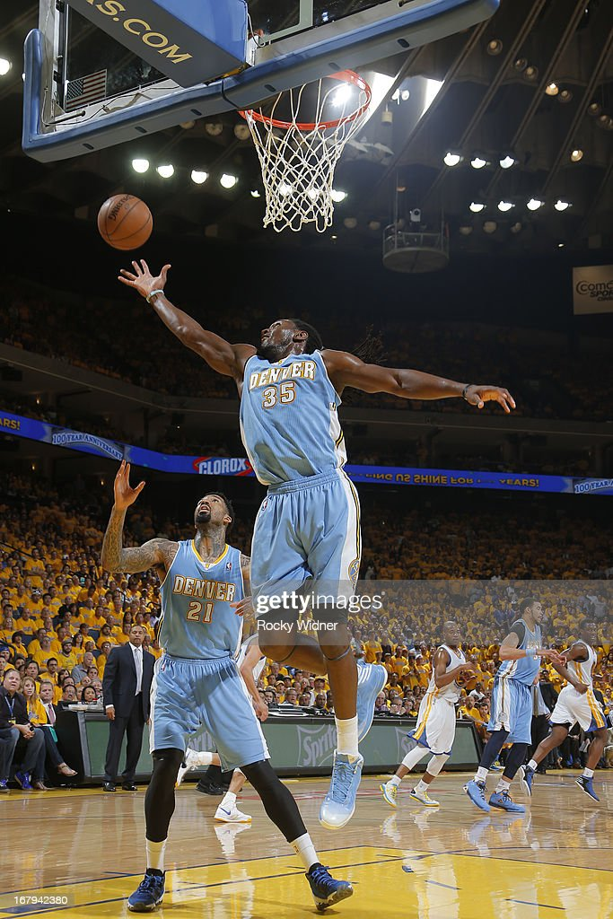 Kenneth Faried #35 of the Denver Nuggets rebounds against the Golden State Warriors in Game Six of the Western Conference Quarterfinals during the 2013 NBA Playoffs on May 2, 2013 at Oracle Arena in Oakland, California.