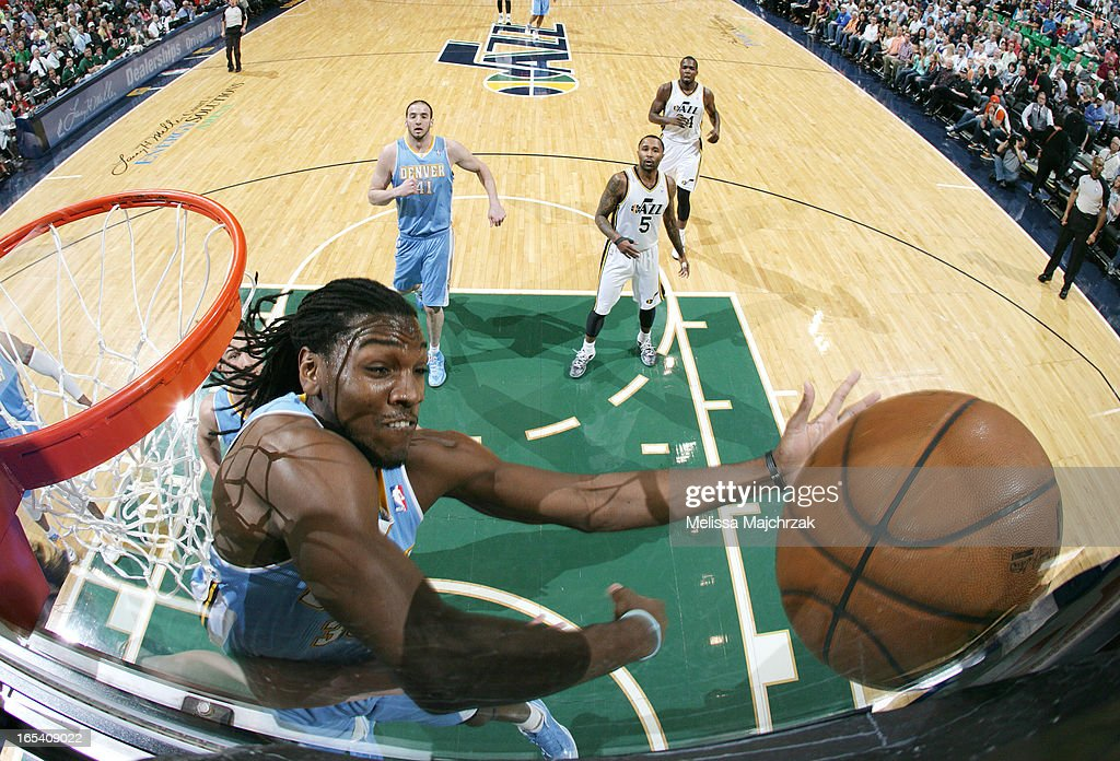 Kenneth Faried #35 of the Denver Nuggets rebounds against the Utah Jazz at Energy Solutions Arena on April 3, 2013 in Salt Lake City, Utah.