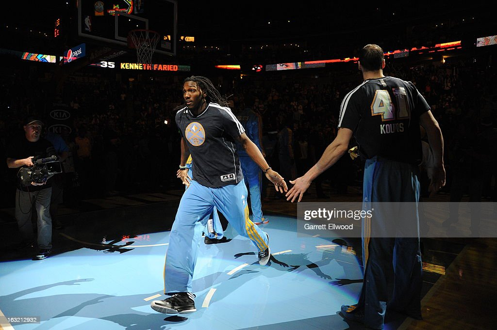 <a gi-track='captionPersonalityLinkClicked' href=/galleries/search?phrase=Kenneth+Faried&family=editorial&specificpeople=5765135 ng-click='$event.stopPropagation()'>Kenneth Faried</a> #35 of the Denver Nuggets runs out before the game against the Los Angeles Lakers on February 25, 2013 at the Pepsi Center in Denver, Colorado.
