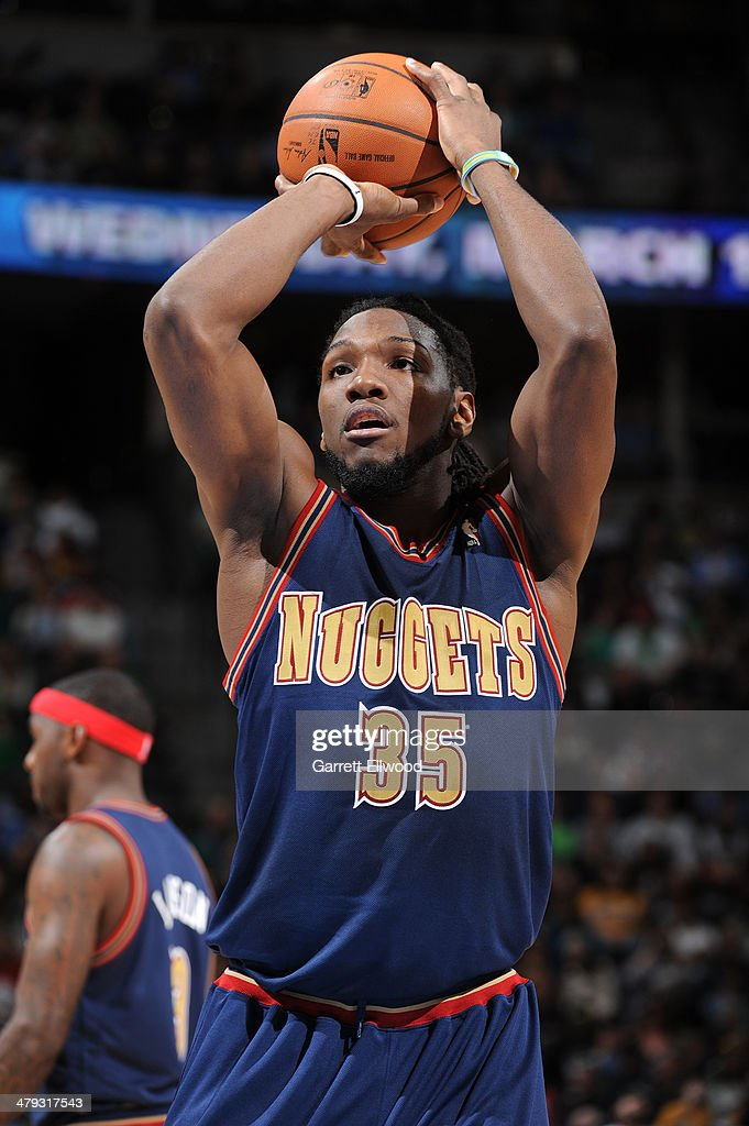 Kenneth Faried #35 of the Denver Nuggets shoots a foul shot against the Los Angeles Clippers on March 17, 2014 at the Pepsi Center in Denver, Colorado.