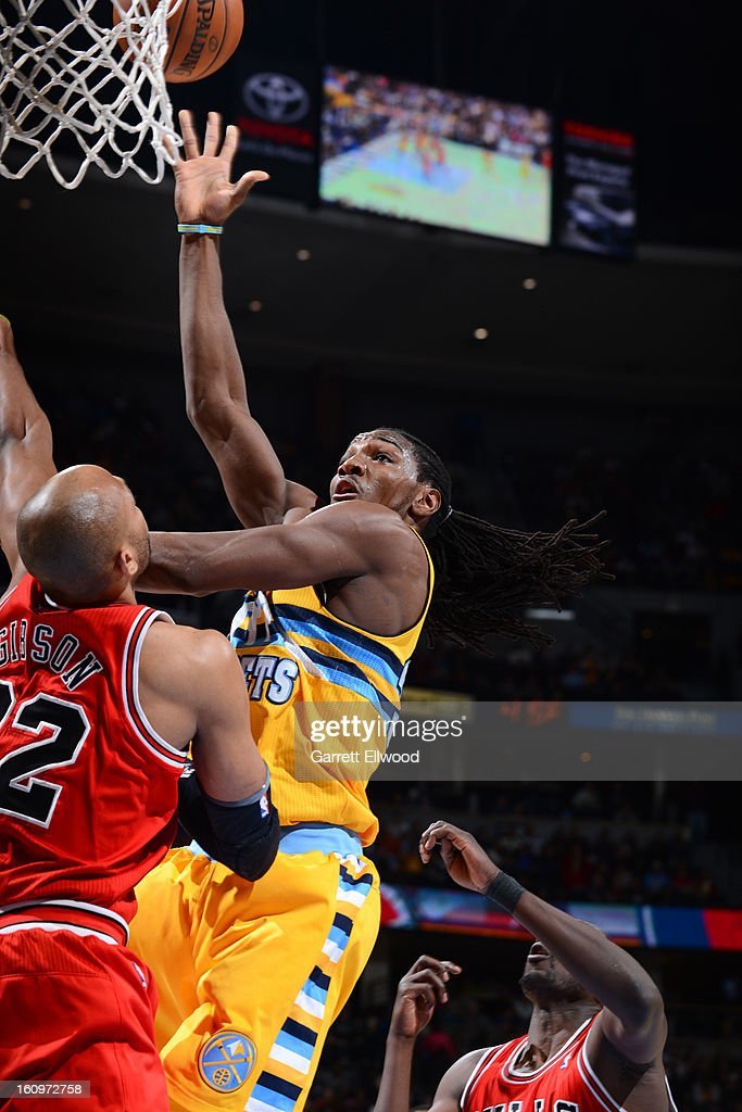 <a gi-track='captionPersonalityLinkClicked' href=/galleries/search?phrase=Kenneth+Faried&family=editorial&specificpeople=5765135 ng-click='$event.stopPropagation()'>Kenneth Faried</a> #35 of the Denver Nuggets shoots against the Chicago Bulls on February 7, 2013 at the Pepsi Center in Denver, Colorado.