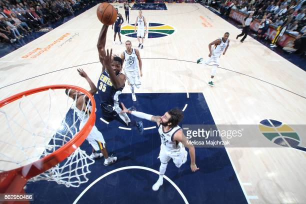 Kenneth Faried of the Denver Nuggets shoots the ball during the season game against the Utah Jazz on October 18 2017 at Vivint Smart Home Arena in...