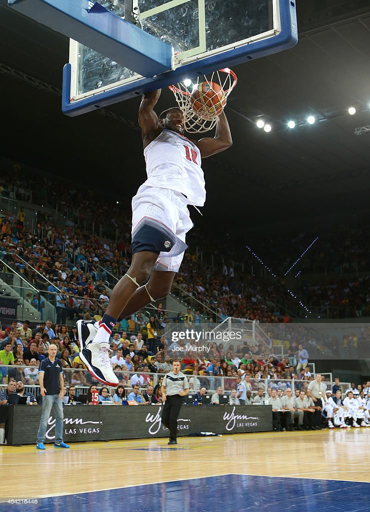 <a gi-track='captionPersonalityLinkClicked' href=/galleries/search?phrase=Kenneth+Faried&family=editorial&specificpeople=5765135 ng-click='$event.stopPropagation()'>Kenneth Faried</a> #18 of the USA Basketball Men's National Team dunks the ball against the Slovenia Basketball Men's National Team on August 26, 2014 at Gran Canaria Arena in Las Palmas, Gran Canaria, Spain.