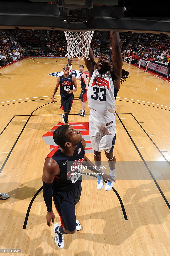 Kenneth Faried #33 of the USA White Team dunks during the 2013 USA Basketball Showcase at the Thomas and Mack Center on July 25, 2013 in Las Vegas, Nevada.