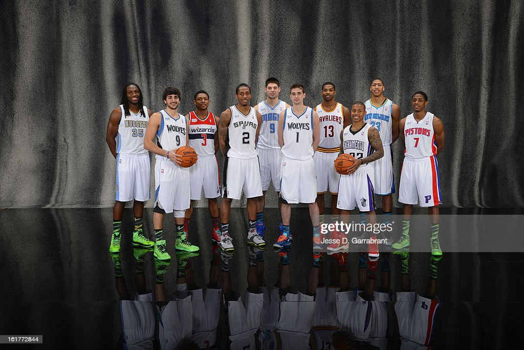 Kenneth Faried #35, Ricky Rubio #9, Bradley Beal #3, Kawhi Leonard #2, Nikola Vucevic #9, Alexey Shved #1, Tristan Thompson #13, Isaiah Thomas #22, Anthony Davis #23, Brandon Knight #7 of Team Chuck poses for portraits prior to the 2013 BBVA Rising Stars Challenge at Toyota Center on February 15, 2013 in Houston, Texas.