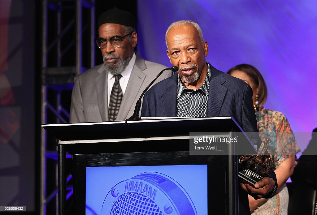 Kenneth Gamble (L) and Leon Huff (R) of musical group Gamble and Huff speak onstage during NMAAM's Celebration Of Legends Red Carpet And Luncheon on May 6, 2016 in Nashville, Tennessee.
