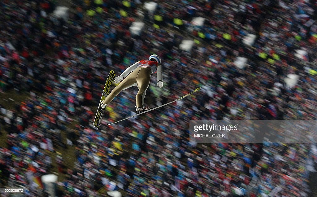 TOPSHOT Kenneth Gangnes of Norway competes during the Four Hills competition of the FIS Ski Jumping World Cup in Bischofshofen on January 6 2016 /...