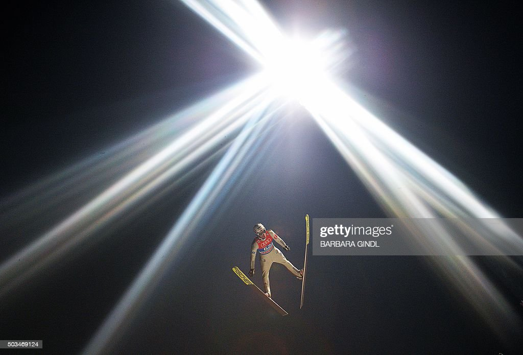 TOPSHOT Kenneth Gangnes of Norway competes during the qualification round at the fourth stage of the Four Hills ski jumping tournament in...