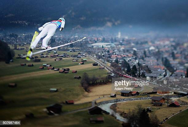 Kenneth Gangnes of Norway soars through the air during his qualification jump on Day 1 of the 64th Four Hills tounament on December 31 2015 in...