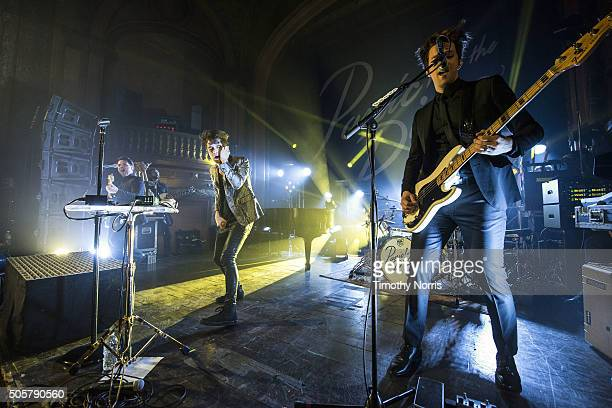 Kenneth Harris Brendon Urie and Dallon Weekes perform at Tower Theatre on January 19 2016 in Los Angeles California