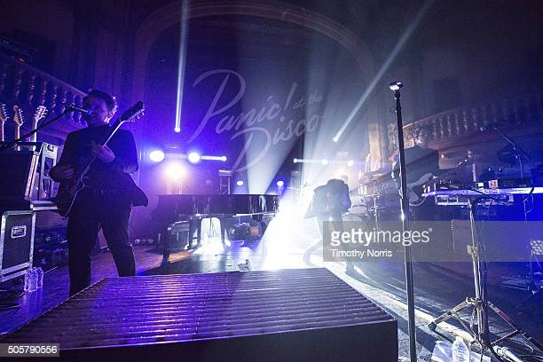 Kenneth Harris Brendon Urie Dan Pawlovich and Dallon Weekes perform at Tower Theatre on January 19 2016 in Los Angeles California