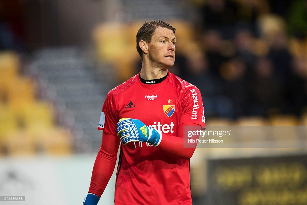 Kenneth Hoie of Djurgardens IF during the Allsvenskan match between IF Elfsborg and Djurgardens IF at Boras Arena on April 28, 2016 in Boras, Sweden.