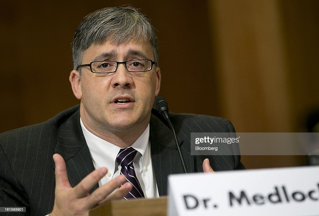 Kenneth Medlock, senior director at the Center for Energy Studies, speaks during a Senate Energy and Natural Resources Committee hearing in Washington, D.C., U.S., on Tuesday, Feb. 12, 2013. The top two members of a Senate committee for energy split over expanding U.S. natural gas exports, mirroring a disagreement between fuel consumers such as Dow Chemical Co. and producers such as Exxon Mobil Corp. Photographer: Andrew Harrer/Bloomberg via Getty Images
