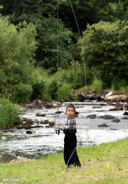 Kenneth Moffett gets to grips with a fly rod at the River Bush Salmon Station Open Day in Bushmills Co Antrim The public were given guided tour of...