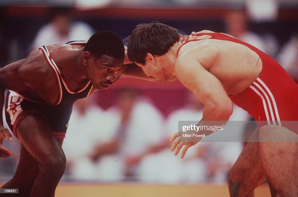 Kenneth Monday of the USA in action against Adlan Varaev of the USSR in the 74kg freestyle wrestling category at the 1988 Summer Olympics in Seoul...