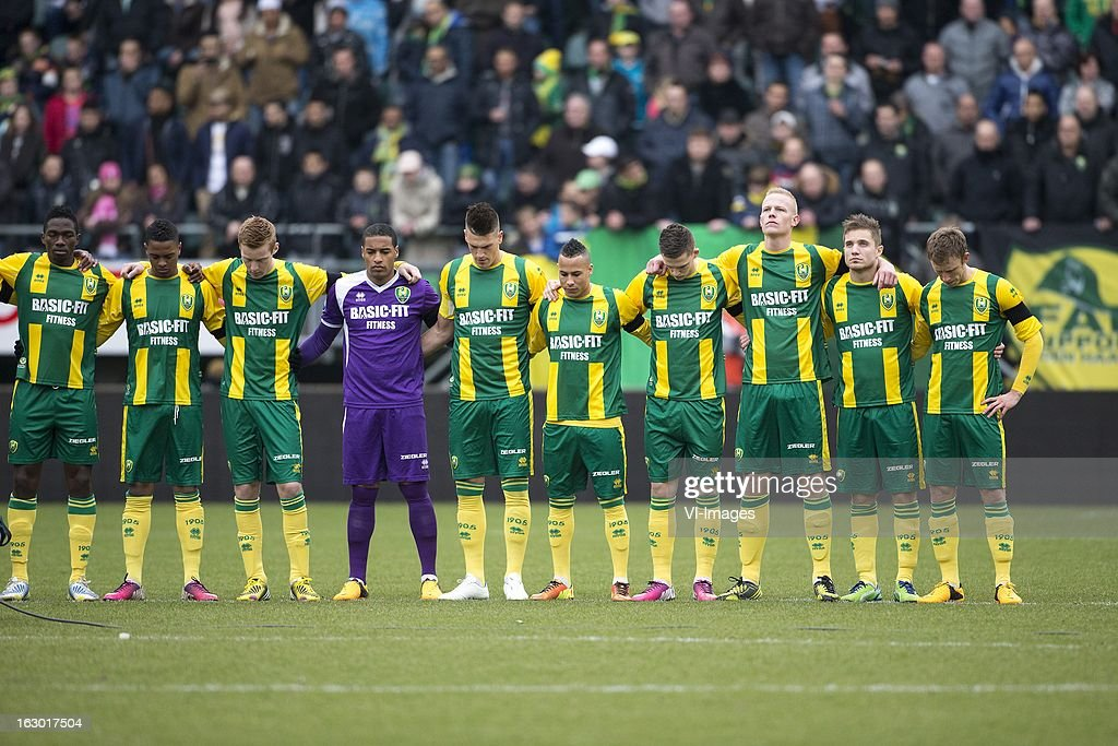 Kenneth Omeruo of ADO Den Haag, Charlton Vicento of ADO Den Haag, Mike van Duinen of ADO Den Haag, Goalkeeper Gino Coutinho of ADO Den Haag, Vito Wormgoor of ADO Den Haag, Tjaronn Chery of ADO Den Haag, Tom Beugelsdijk of ADO Den Haag, Aaron Meijers of ADO Den Haag, Dico Koppers of ADO Den Haag - Theo Bos during the Dutch Eredivisie match between ADO Den Haag and Heracles Almelo at the Kyocera Stadium on march 03, 2013 in The Hague, The Netherlands