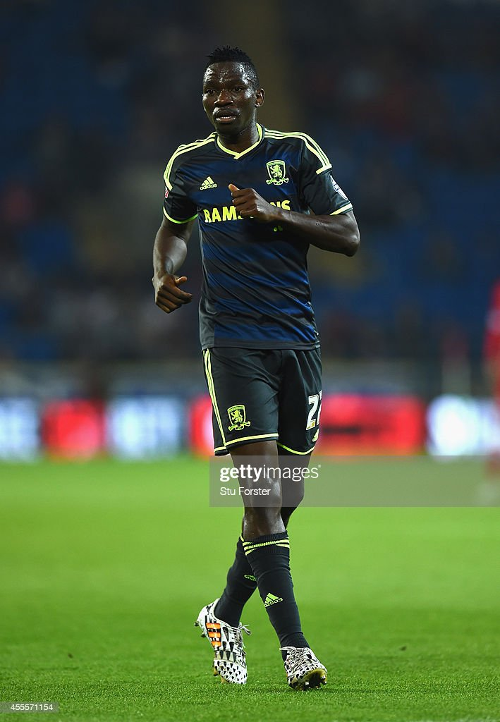 <a gi-track='captionPersonalityLinkClicked' href=/galleries/search?phrase=Kenneth+Omeruo&family=editorial&specificpeople=6392838 ng-click='$event.stopPropagation()'>Kenneth Omeruo</a> of Middlesbrough in action during the Sky Bet Championship match between Cardiff City and Middlesbrough at Cardiff City Stadium on September 16, 2014 in Cardiff, Wales.