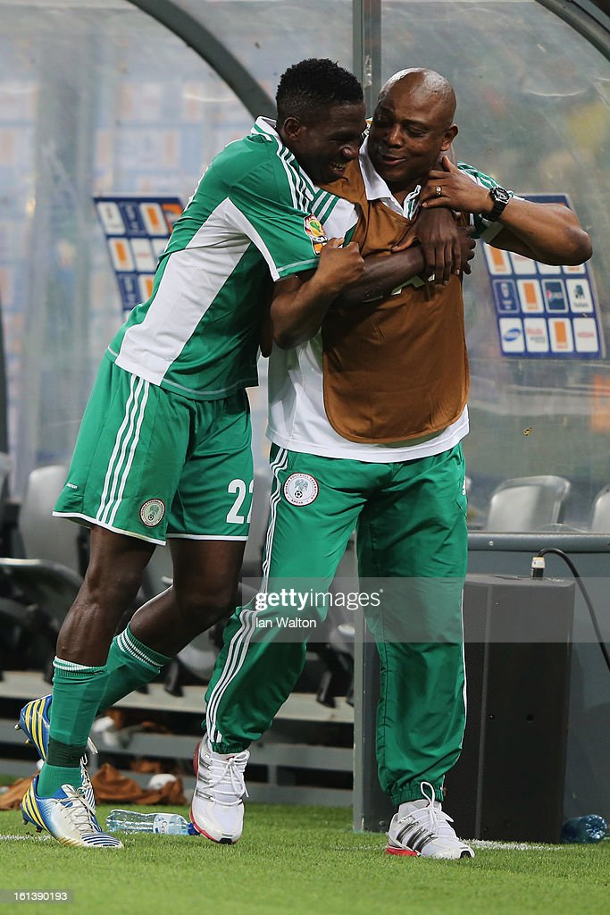 Kenneth Omeruo of Nigeria runs towards his Manager, Stephen Keshi after winning the 2013 Africa Cup of Nations Final match between Nigeria and Burkina at FNB Stadium on February 10, 2013 in Johannesburg, South Africa.