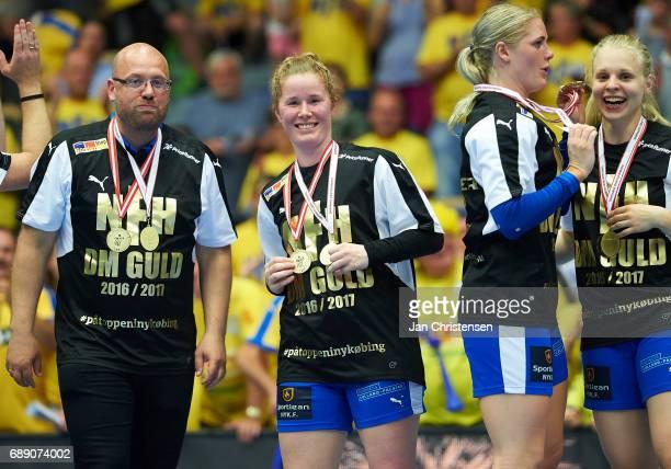 Kenneth Sahlholdt assistant coach of Nykobing Falster Handbold Mette Gravholt of Nykobing Falster Handbold Sarah Iversen of Nykobing Falster Handbold...