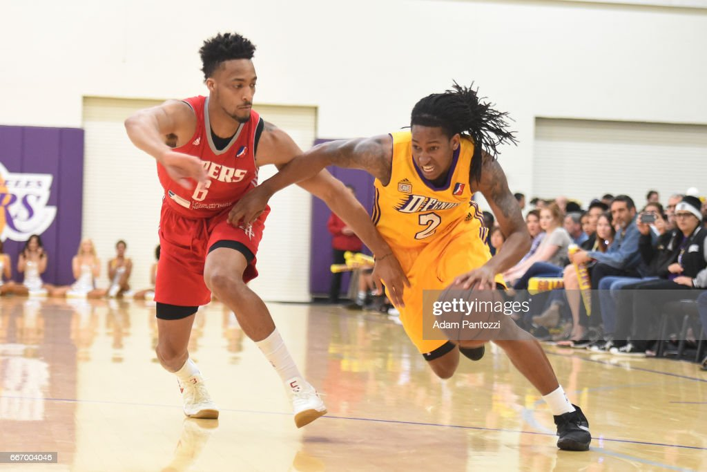 Kenneth Smith #2 of the Los Angeles D-Fenders drives to the basket against JP Tokoto #6 of the Rio Grande Valley Vipers during the first round of an NBA D-League playoff game at Toyota Sports Center on April 08, 2017 in El Segundo, California.