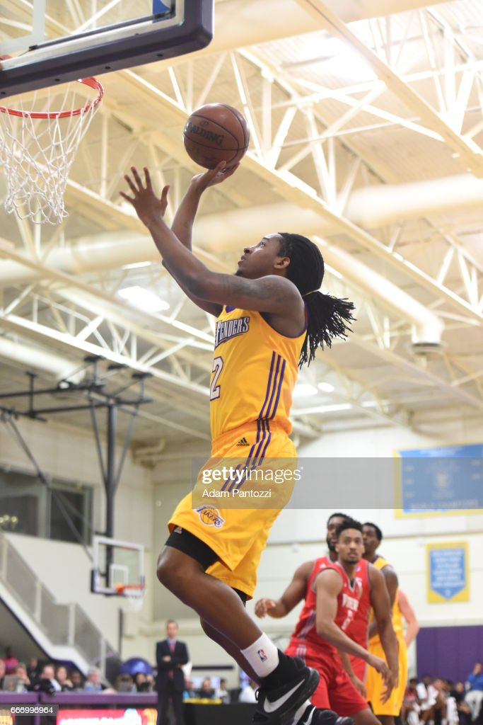 Kenneth Smith #2 of the Los Angeles D-Fenders shoots the ball against the Rio Grande Valley Vipers during the first round of an NBA D-League playoff game at Toyota Sports Center on April 08, 2017 in El Segundo, California.