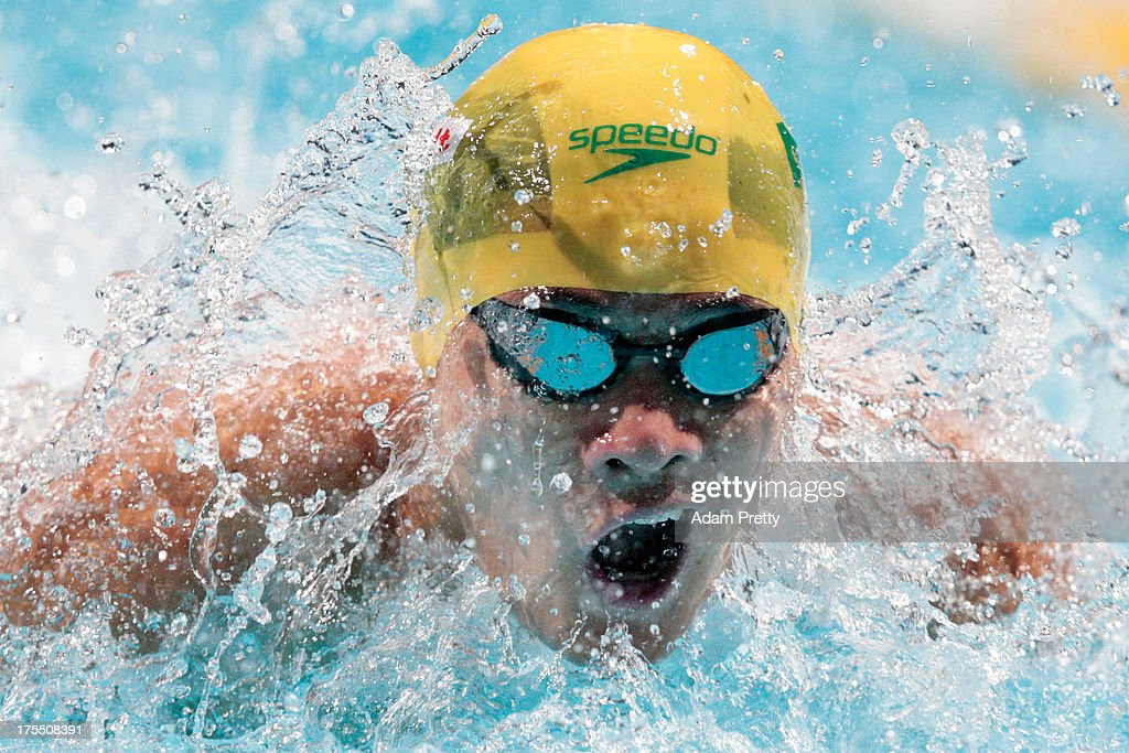 Kenneth To of Australia competes during the Swimming Men's 4x100m Medley Relay preliminaries heat one on day sixteen of the 15th FINA World Championships at Palau Sant Jordi on August 4, 2013 in Barcelona, Spain.