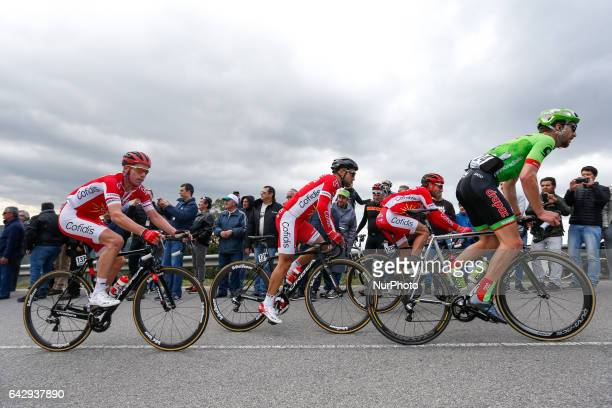 Kenneth Vanbilsen Nacer Bouhanni and Jonas Van Genechten of Cofidis and Taylor Phinney of Cannondale Drapac during the 5th stage of the cycling Tour...