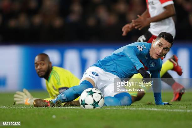 Kenneth Vermeer of Feyenoord Jose Callejon of Napoli during the UEFA Champions League match between Feyenoord v Napoli at the Feyenoord Stadium on...