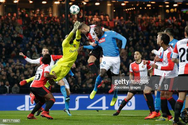 Kenneth Vermeer of Feyenoord Sven van Beek of Feyenoord Kalidou Koulibaly of Napoli during the UEFA Champions League match between Feyenoord v Napoli...