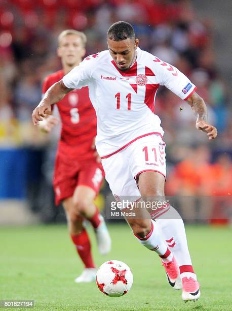 Kenneth Zohore during the UEFA European Under21 match between Czech Republic and Denmark at Arena Tychy on June 24 2017 in Tychy Poland