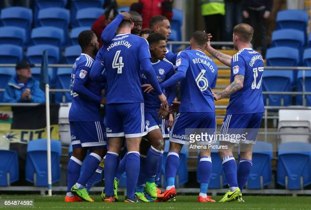 Kenneth Zohore of Cardiff City celebrates scoring his sides first goal of the match during the Sky Bet Championship match between Cardiff City and...