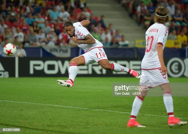 Kenneth Zohore of Denmark scores his sides third goal during the UEFA European Under21 Championship Group C match between Czech Republic and Denmark...