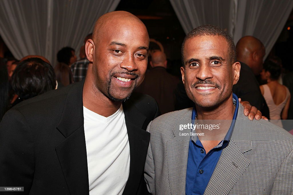Kenny Anderson and David Aldridge attend 10th Annual Kenny The Jet Smith NBA All-Star Bash, hosted by Mary J. Blige on February 24, 2012 in Orlando, Florida.