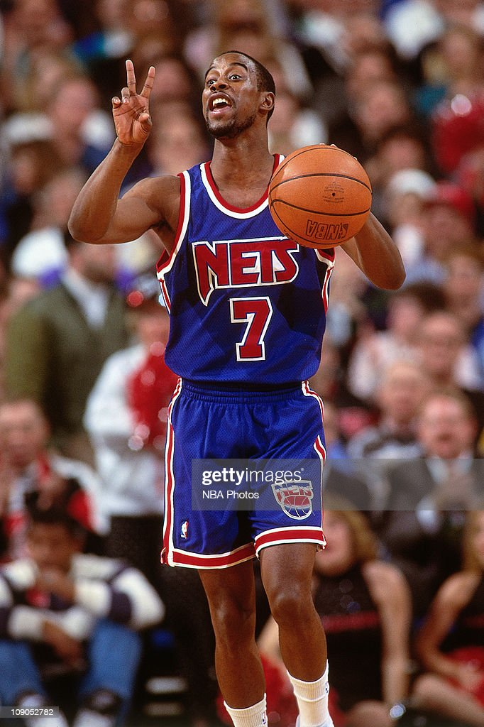 Kenny Anderson #7 of the New Jersey Nets calls a play against the Portland Trailblazers circa 1994 at the Veterans Memorial Coliseum in Portland, Oregon.